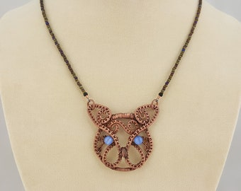 Copper Wire Wrapped Cat Necklace - Antiqued Look Copper Kitty Pendant - Great Cat Lover Gift - Blue Eyed Cat - Wire Wrap Copper Cat Jewelry