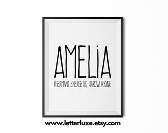Amelia Name Meaning Art - Printable Baby Shower Gift - Nursery Printable Art - Digital Print - Nursery Decor - Typography Wall Decor