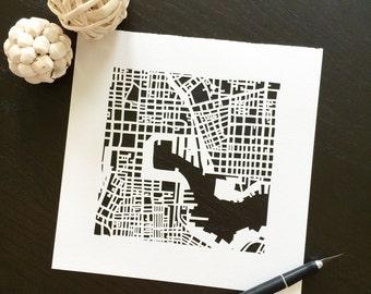 Baltimore, Annapolis, or Ocean City, MD hand cut map ORIGINAL, 10x10