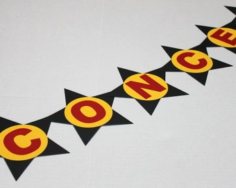 CONCESSIONS banner, movie night, drive in movie birthday party, pennant banner, sign