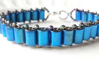 Blue Hematite bracelet, Blue bracelet, Silver bracelet, Magnetic bracelet, Gemstone bracelet, Boho bracelet, Metallic bracelet
