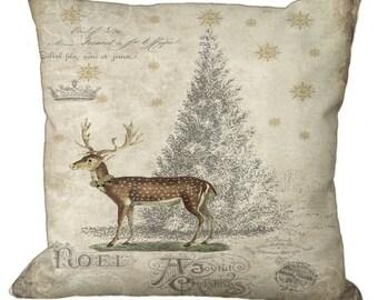 Christmas Tree Deer Postcard in Choice of 14x14 16x16 18x18 20x20 22x22 24x24 26x26 inch Pillow Cover