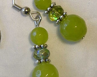 "Cynthia Lynn ""AUGUST'S CHILD"" Ladies Silver Green Peridot Birthstone & Crystal Earrings 1.5"""