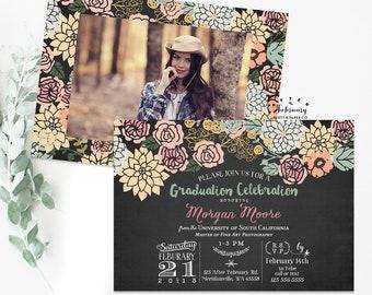 Graduation Invitation // Graduation Party Invite, Graduation Announcement, Floral Shabby Chic Typography // Printable No.339GRAD