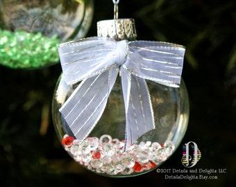 Ornement en disque diamant rouge blanc verre rempli argent ruban blanc, ruban à carreaux, décor d'arbre élégant rayé suspension Noël vacances
