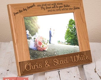 Personalized Wedding Picture Frame-Wood Engraved-Wedding Gift-Wedding Memento-Gift for the Couple