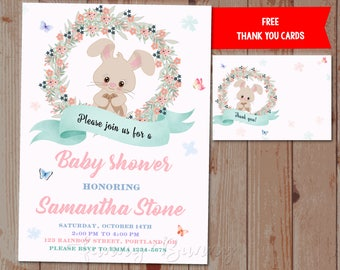 Bunny baby shower invitation printable Floral rabbit baby shower invite Gender neutral woodland animals baby shower Our sweet little party