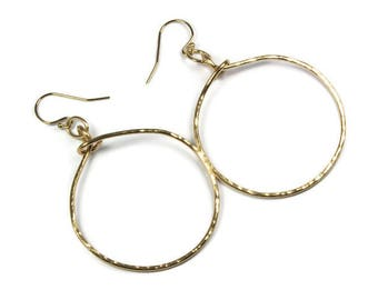 Handmade Medium Gold Hoop Earrings in 14 K Gold Filled Wire, Hammered Metal Jewelry, Gold Gift for Her