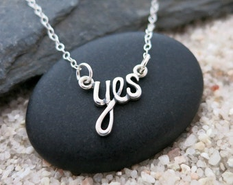 Yes Necklace, Sterling Silver Yes Pendant, Word Jewelry