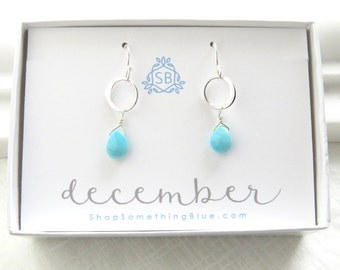 December Birthday Gift • Turquoise Earrings • Smooth Briolette • Turquoise Blue Gemstone • December Birthstone