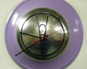 1936 Ford V8 Hubcap Clock - Classic Car Wall Clock - Retro Lilac Kitchen Clock - Diner Decor