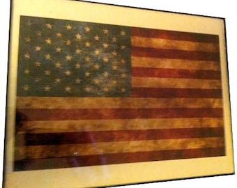 US Flag Vintage Design Print on Canvas