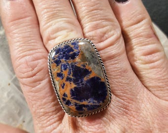Sodalite Statement Ring - Size 7.25