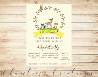 Woodland Laurel Baby Shower Invitation Printable - Woodland Baby Shower Yellow Gender Neutral Invites with Watercolor Baby Animals