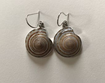 Vintage Seashell Fossil 925 Sterling Silver Dangle Drop Earrings