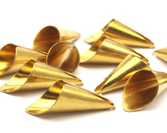 10 Raw Brass Cone Bead Caps , Charms (28mm) Bs 1314