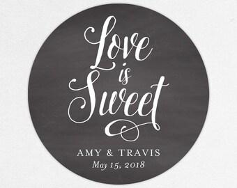 Love is Sweet Wedding Favor Labels, Love is Sweet Favor Tags, Love is Sweet Favor Stickers, Wedding Labels, Printed Labels, Monogram, Chalk