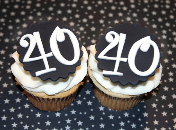 Fondant cupcake toppers 40th Birthday party Over the Hill