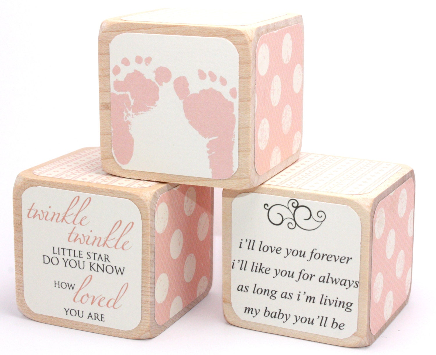 Shabby Chic Baby Shower Decor Wood Blocks Baby Blocks