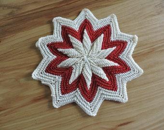 Vintage Star-Shaped Hand-Crocheted Trivet, Crocheted Red and White Star Trivet