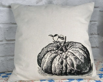 Pumpkin Pillow Cover or Complete Pillow, Cotton Canvas, Farmhouse Decor, Cottage Style, Housewarming Gift Idea, 18x18 size
