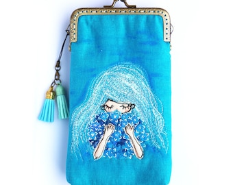iPhone Case / Glasses Case - Blue Free Motion Embroidery ( iPhone X, iPhone 8, iPhone 8 Plus, Samsung Galaxy S8 etc. )