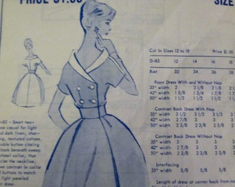 Modes Royale D-83 Womens 60s Summer Picinc Dress Sewing Pattern Size 14 Bust 34