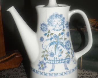 Vintage (1970s) Figgjo Flint Turi Lotte coffee pot with lid. Hand-painted silkscreen people and florals. FLAWED (see below).