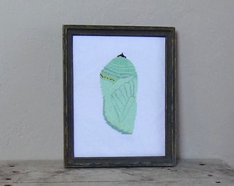 Beginner Cross Stitch Kit Monarch Butterfly Chrysalis / Beginner Butterfly Cross Stitch Kit / Chrysalis Beginner Cross Stitch Kit