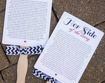 How We Met Printable Wedding Fans | Story Wedding Fans, His Side and Her Side, Couple Story, Wedding Fans, Outdoor Wedding, Our Love Story