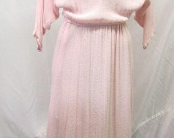 Vintage 1980's Dress Pink Fringe Open Weave Knit Tea Length Dolmen Sleeve S/M/L