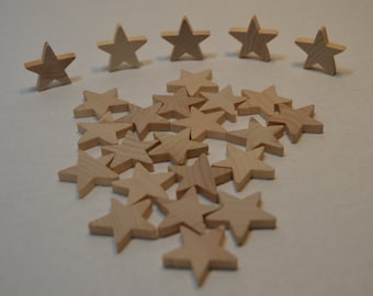 """1"""" Wood Star - Set of  25 Unfinished Wood Stars - 3/16"""" Thick Wooden Stars"""