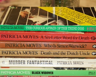 Vintage lot of Patricia Moyes in readable condition: 6 books