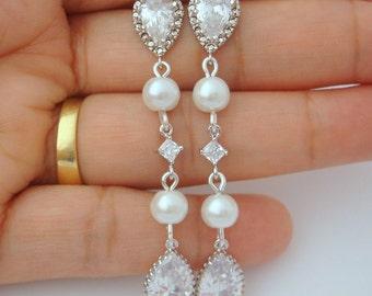 Wedding Jewelry Bridal Earrings, Long Drop Dangle Teardrop Cubic Zirconia Crystal Earrings,  Bridesmaid Earrings