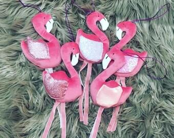 Pink Velvet Flamingo Christmas decoration