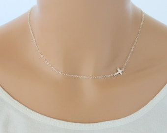 Sideways cross necklace gold cross necklace sideways sideways cross necklace silver cross necklace dainty cross sideways cross necklace women layering aloadofball Images