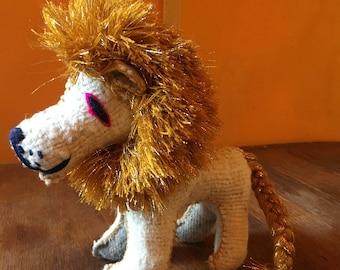 Handmade Natural Wool Mayan Glitter Gold Mane Lion, Stuffed Animal, Mexican Woven Art, Twoolie