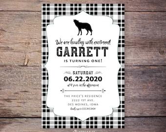 Howling with Excitement birthday invitations, flannel birthday party invite, wolf, plaid birthday, lumberjack birthday