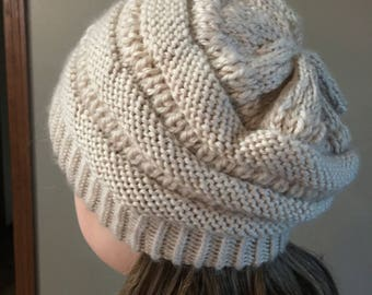 Hand Knit Superwash Wool and Acrylic CCBeanie Copycat  Stocking Cap/Hat in Light Beige