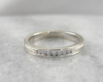 Etched Channel Set Diamond Band, White Gold Wedding Ring 92WEEU-R
