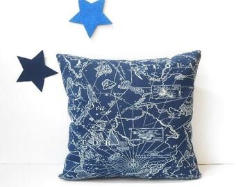 Navy Blue 16x16 Outdoor Pillow, Beach House Pillow, Boat Pillow, Deck or Patio Maritime Equator Pillow Case, Indoor Outdoor, Summer Pillow