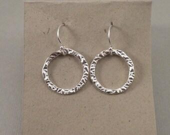Sterling Silver Medium Hand Stamped Circle Earrings