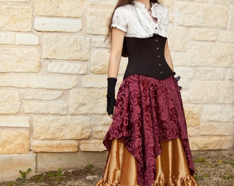 Burgundy Brocade Pixie Skirt - Renaissance Clothing - Halloween Costume - Ren Faire Garb - Gypsy Costume - Pirate Skirt - Medieval Clothing