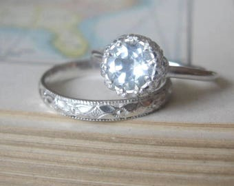 White Topaz Promise Ring or Diamond Alternative Engagement Ring Sterling Silver Let them Eat Cake Ring Unique Solitaire Boho Engagement Ring