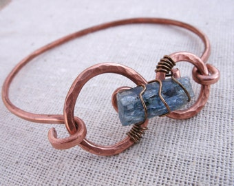 Hammered Eco Copper Wire Wrapped Kyanite Bracelet