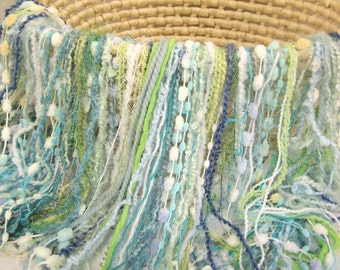 """Fringed Blanket 2' x 2' Fringe-Oodles """"Over"""" in Blue and Green Novelty Yarns for Baby Pictures and a Photography Prop"""