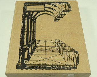 Architectural Columns Wood Mounted Rubber Stamp  From Stampers Anonymous V1-542