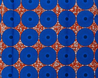 African Print Fabric By The Yard HOLLANTEX Blue Orange Circle Design htw717104
