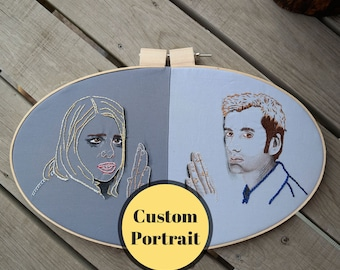CUSTOM Mixed Media Portrait Hoop Art; Hand Drawn Colored Pencil Portraits with Embroidery on Fabric with or without Ribbon Work
