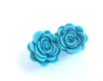 Flower hair clip - Baby blue - felt hair clip, hair bows, hair bow, bows, hair clips, hair bows for girls, baby bows, hairbows, felt bows
